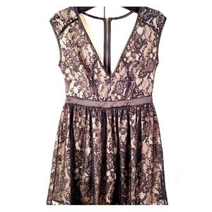 BLACK LACE OVER METALLIC BEIGE S-M by MUSTARD SEED